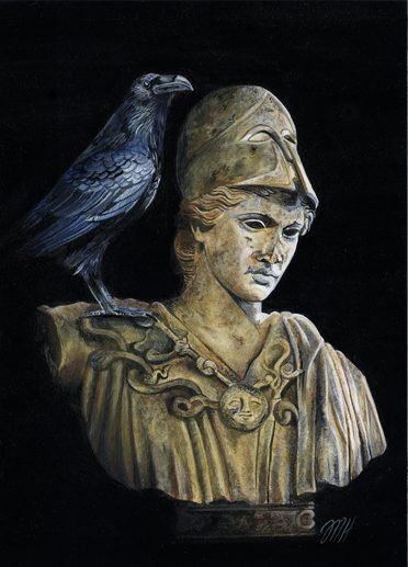 Perched upon the bust of Pallas